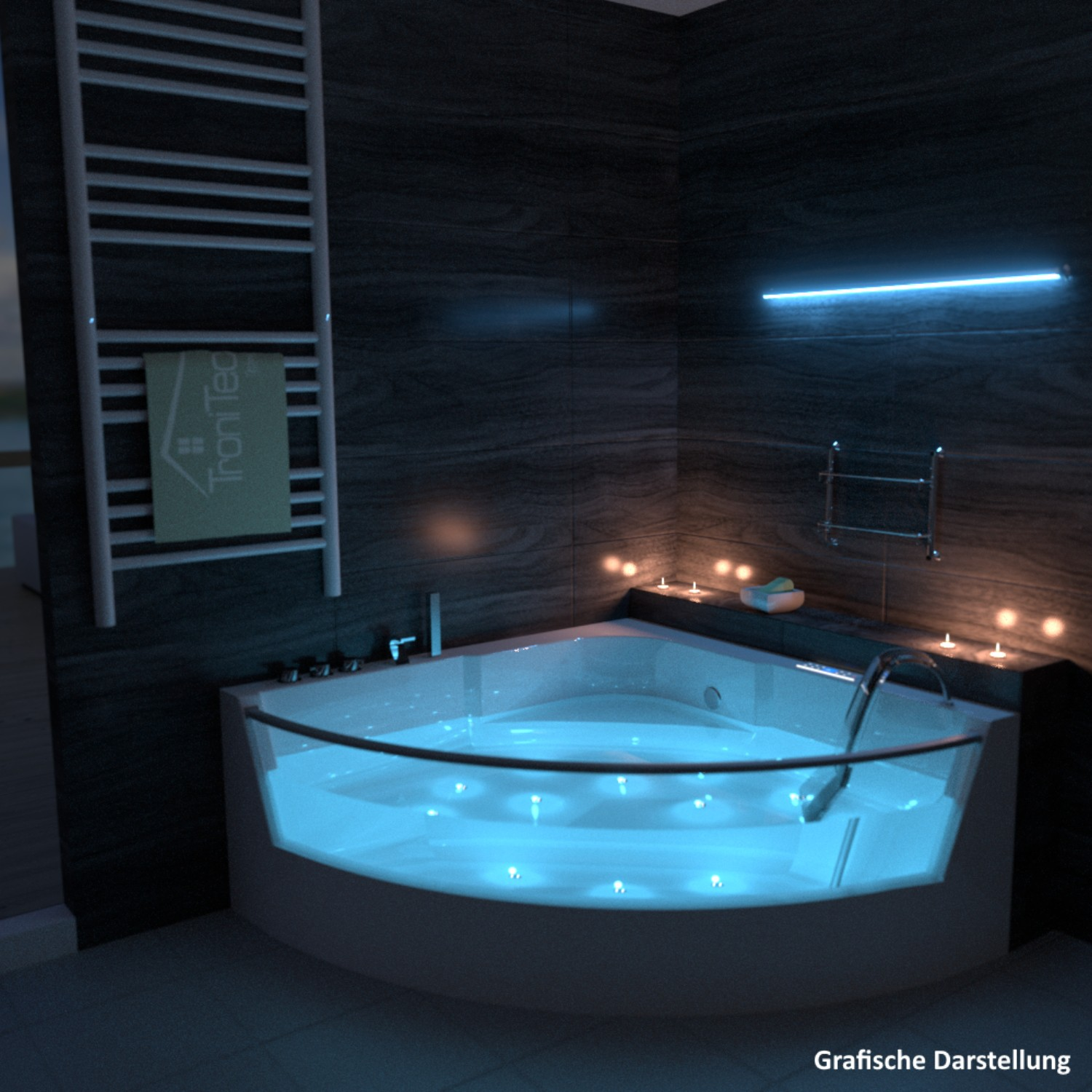 tronitechnik whirlpool whirlwanne badewanne wanne eckwhirlpool eckwanne leds neu ebay. Black Bedroom Furniture Sets. Home Design Ideas